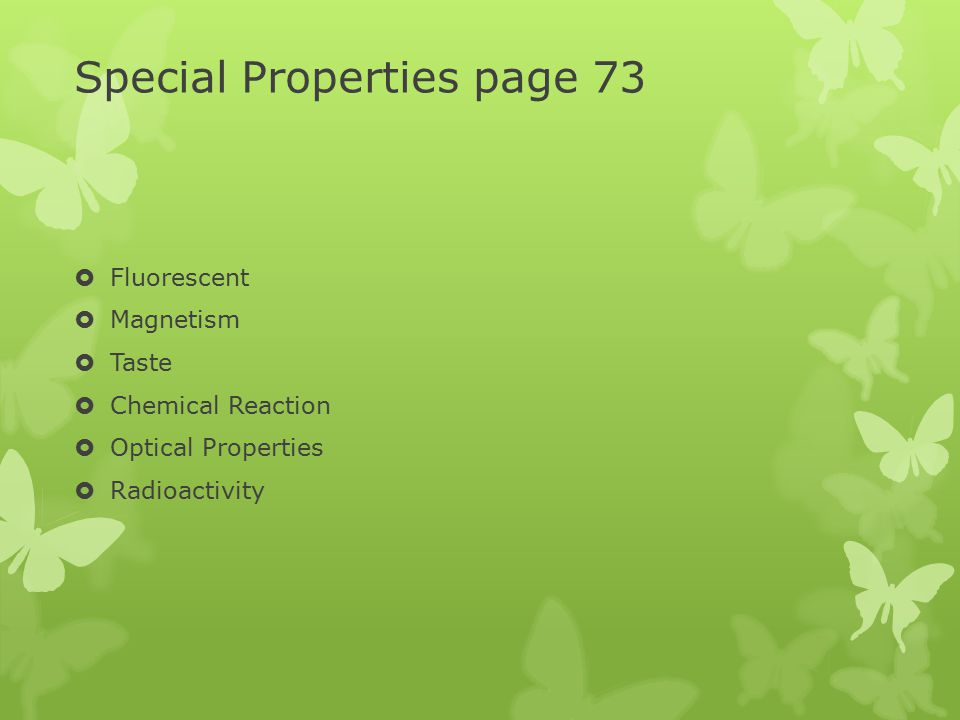 Special Properties page 73