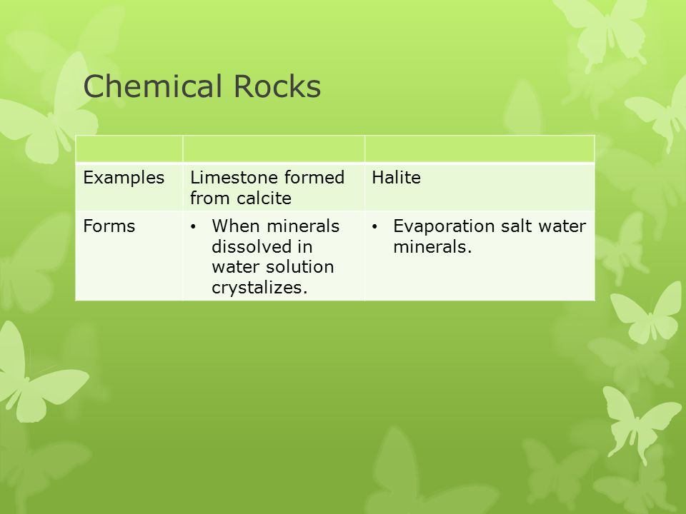 Chemical Rocks Examples Limestone formed from calcite Halite Forms