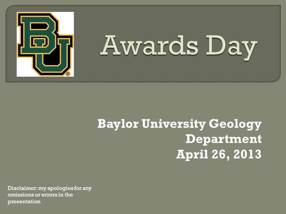 Baylor University Geology Department April 26, 2013