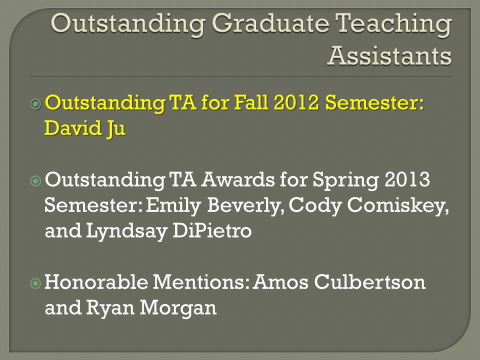 Outstanding Graduate Teaching Assistants