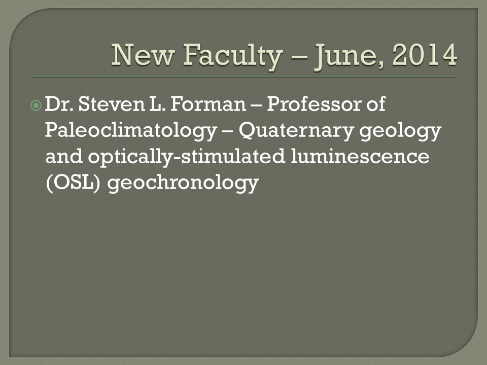 New Faculty – June, 2014