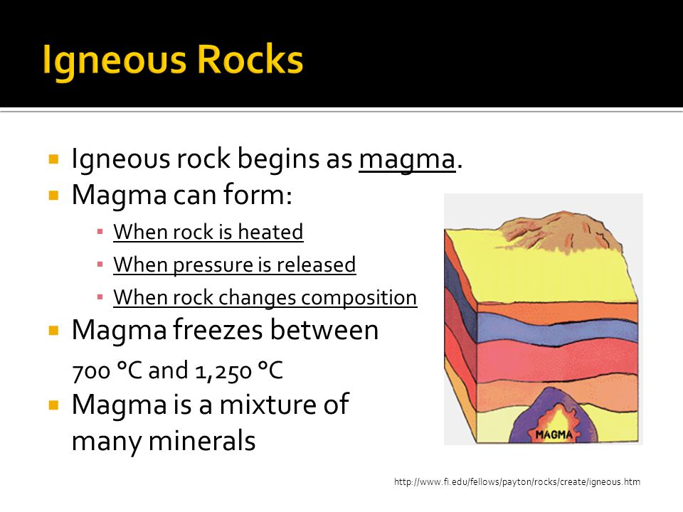 Igneous Rocks Igneous rock begins as magma. Magma can form: