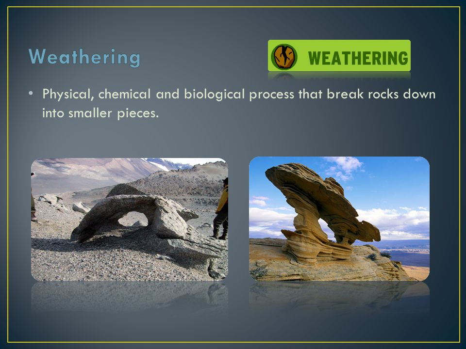 Weathering Physical, chemical and biological process that break rocks down into smaller pieces.