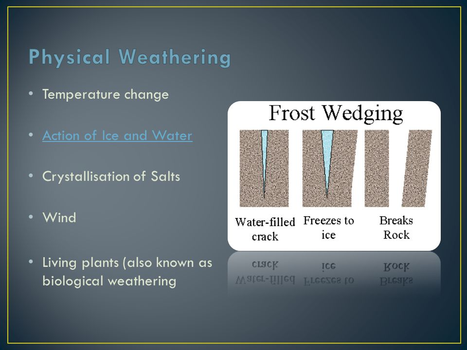 Physical Weathering Temperature change Action of Ice and Water