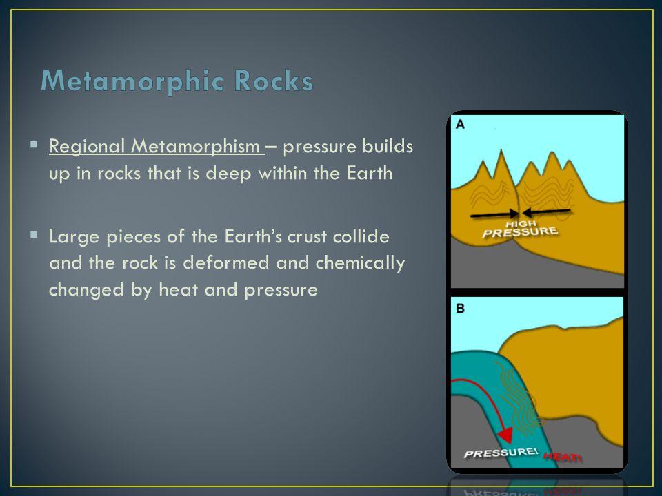 Metamorphic Rocks Regional Metamorphism – pressure builds up in rocks that is deep within the Earth.