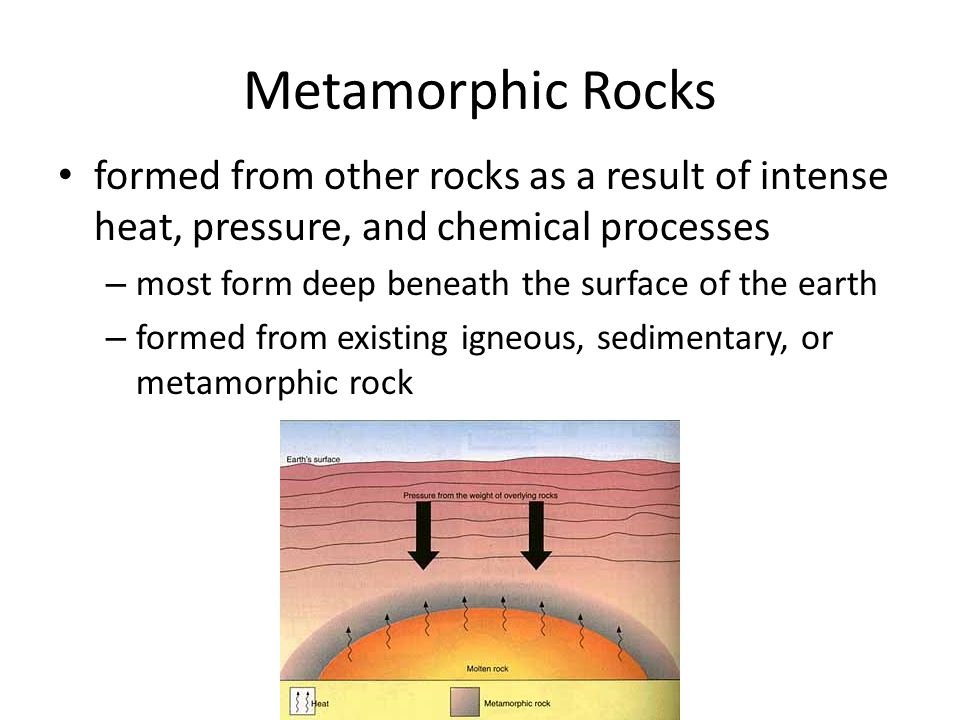 Metamorphic Rocks formed from other rocks as a result of intense heat, pressure, and chemical processes.