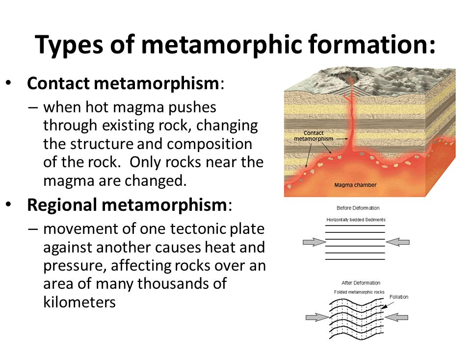 Types of metamorphic formation: