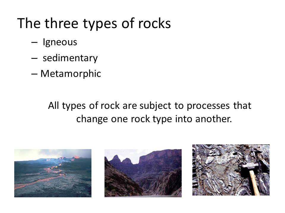 The three types of rocks