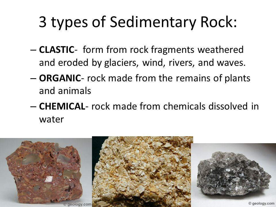 3 types of Sedimentary Rock: