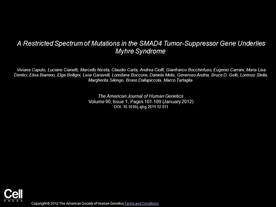 A Restricted Spectrum of Mutations in the SMAD4 Tumor-Suppressor Gene Underlies Myhre Syndrome