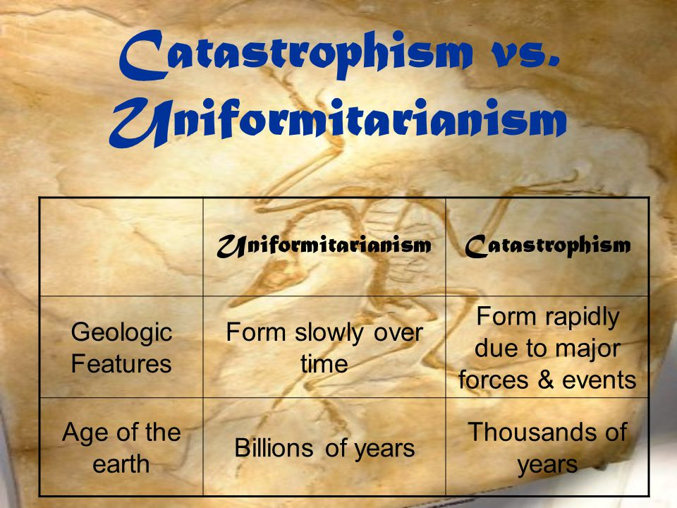 Catastrophism vs. Uniformitarianism