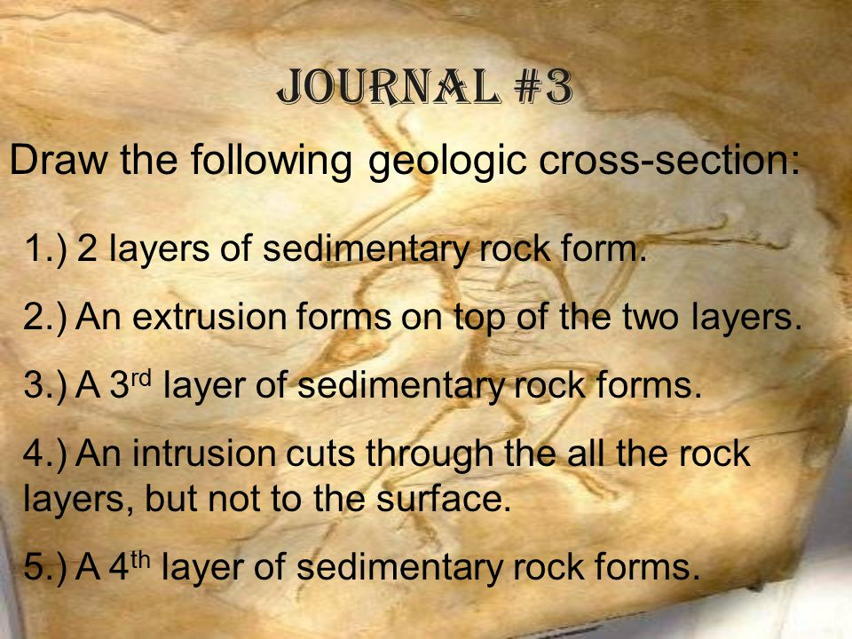 Journal #3 Draw the following geologic cross-section:
