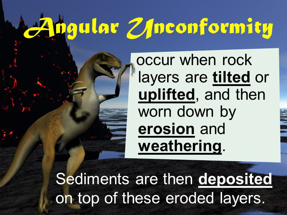 Angular Unconformity occur when rock layers are tilted or uplifted, and then worn down by erosion and weathering.