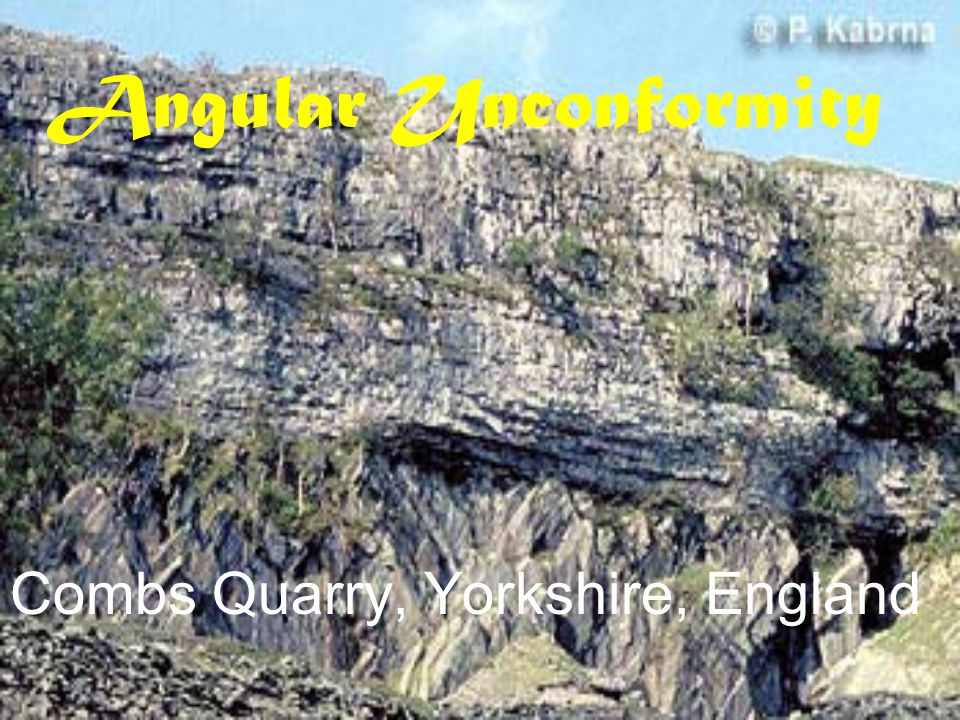 Angular Unconformity Combs Quarry, Yorkshire, England