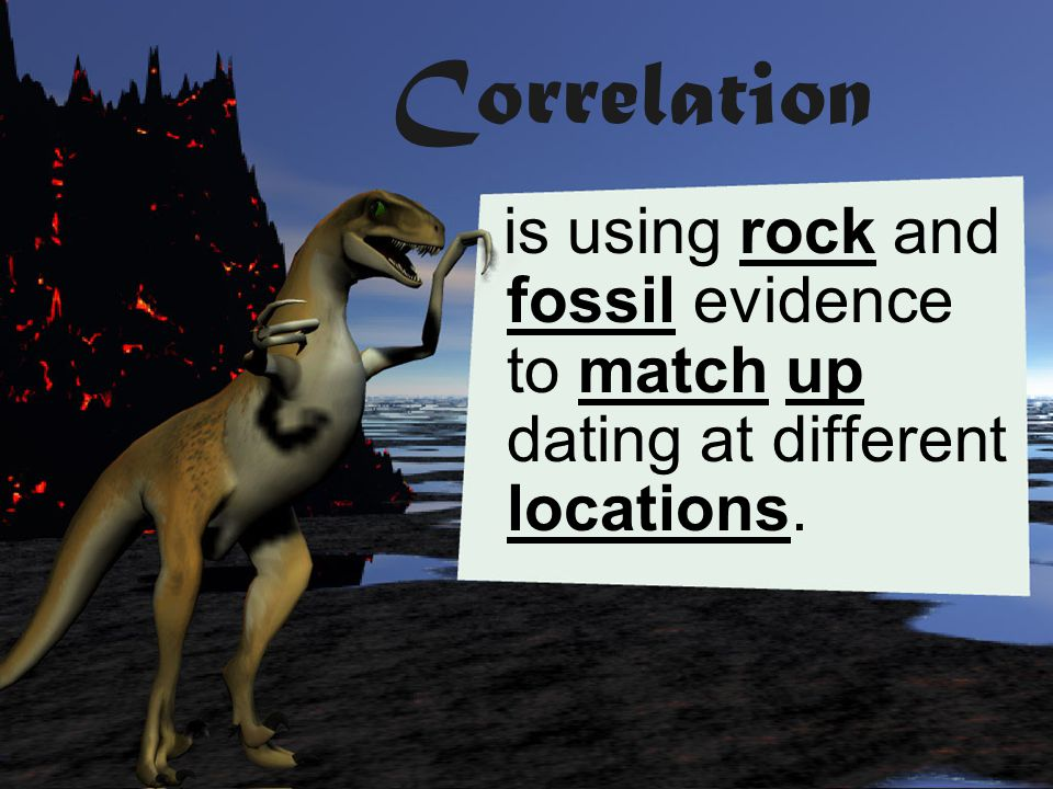 Correlation is using rock and fossil evidence to match up dating at different locations.
