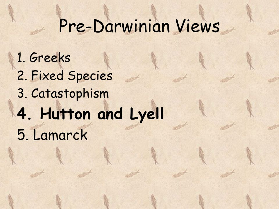 Pre-Darwinian Views 4. Hutton and Lyell 5. Lamarck 1. Greeks