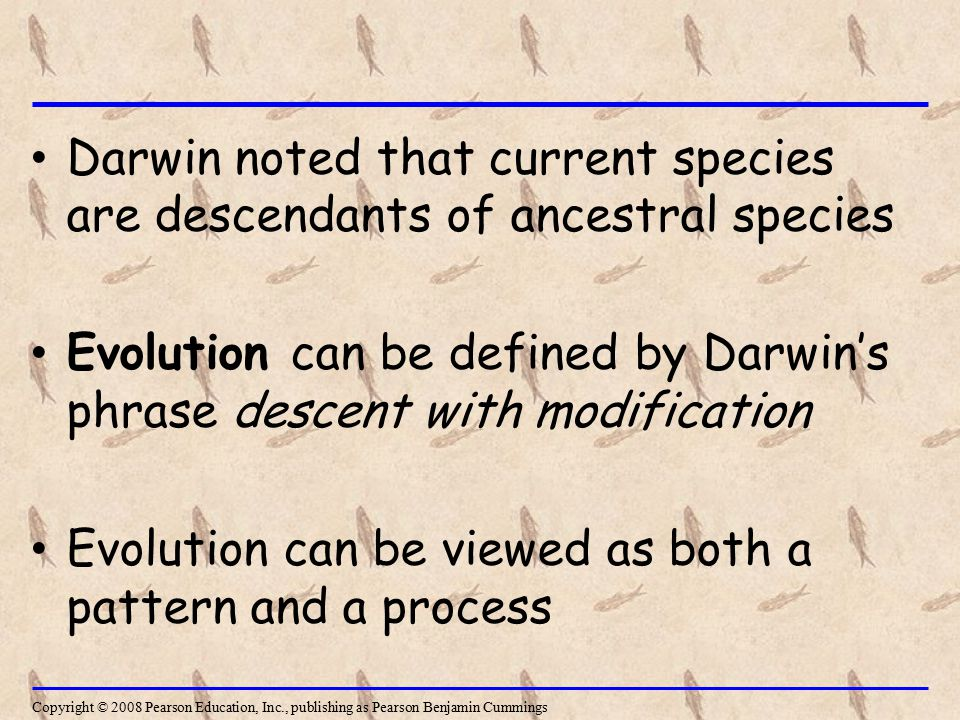 Darwin noted that current species are descendants of ancestral species