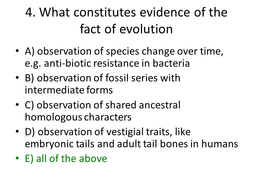 4. What constitutes evidence of the fact of evolution