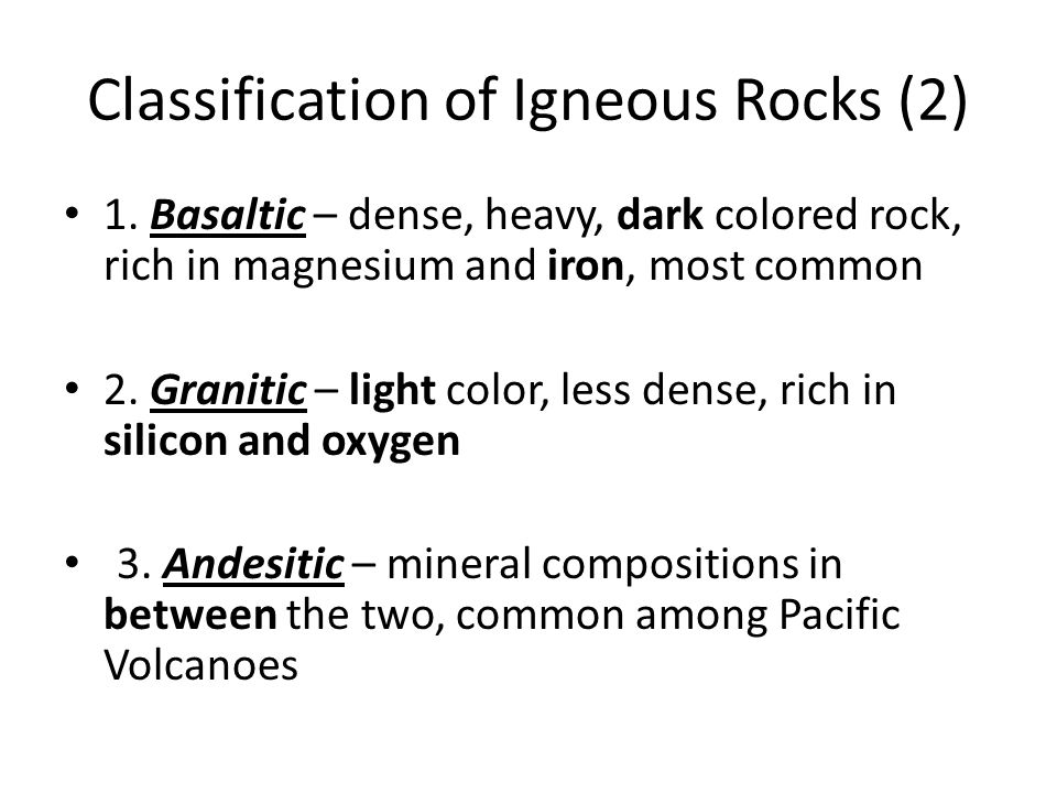 Classification of Igneous Rocks (2)