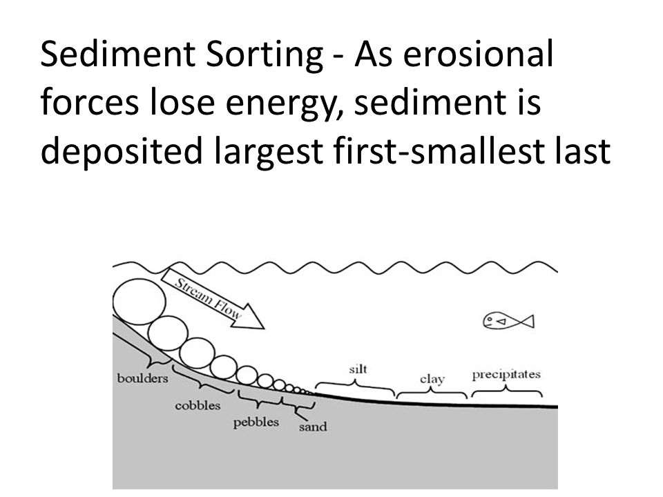 Sediment Sorting - As erosional forces lose energy, sediment is deposited largest first-smallest last