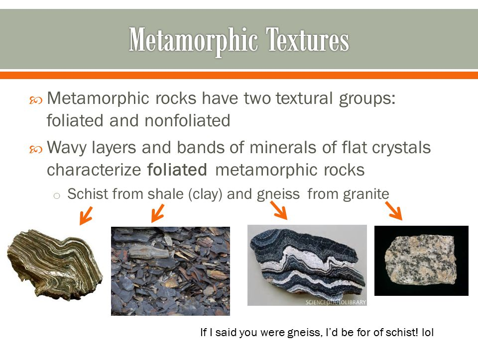 Metamorphic Textures Metamorphic rocks have two textural groups: foliated and nonfoliated.