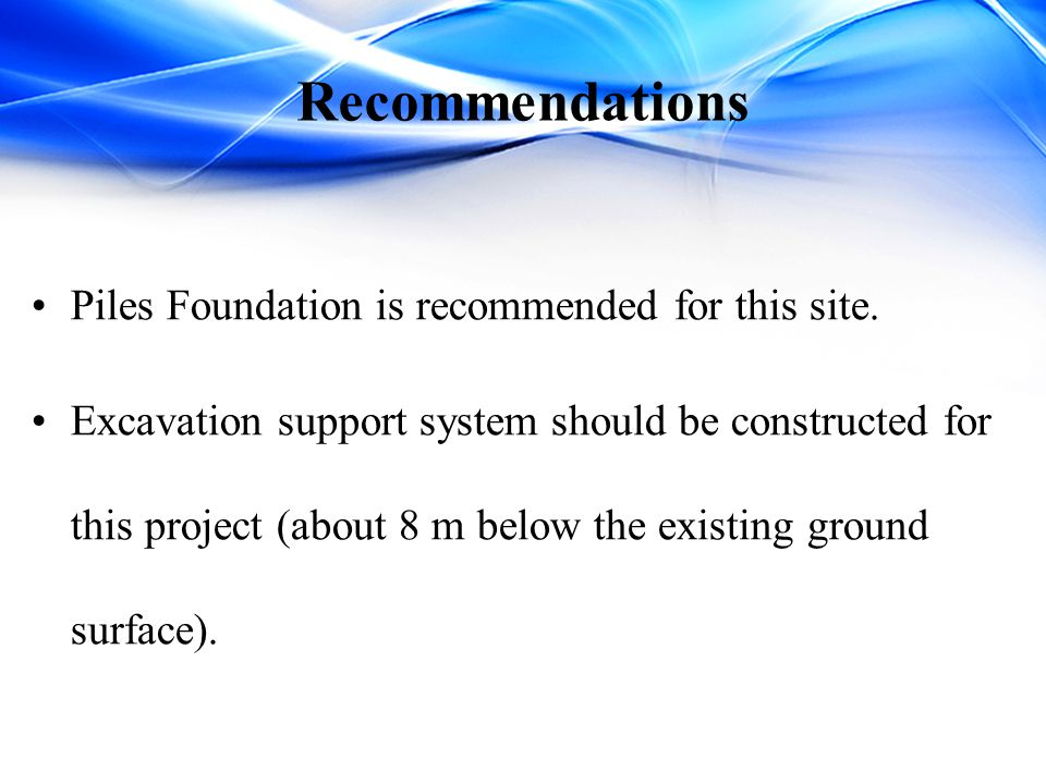 Recommendations Piles Foundation is recommended for this site.