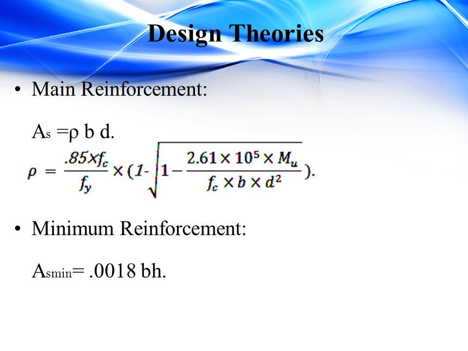Design Theories Main Reinforcement: As =ρ b d. Minimum Reinforcement: