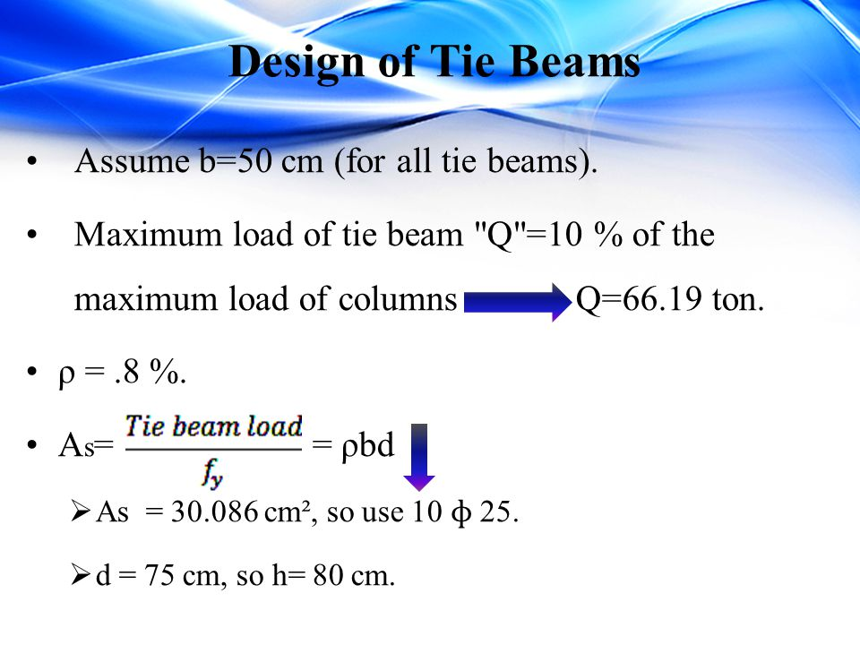 Design of Tie Beams Assume b=50 cm (for all tie beams).
