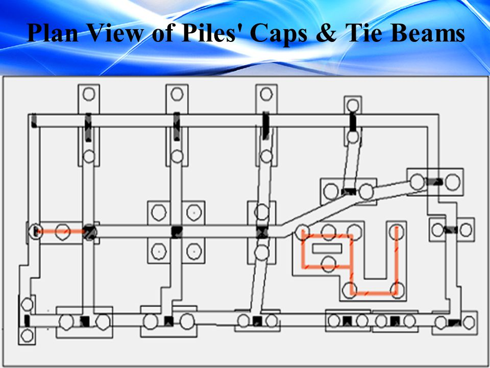 Plan View of Piles Caps & Tie Beams