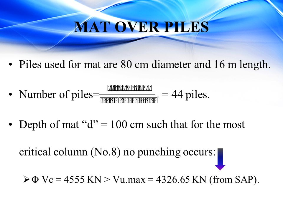 MAT OVER PILES Piles used for mat are 80 cm diameter and 16 m length.