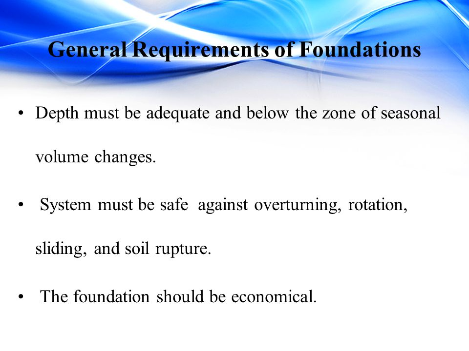 General Requirements of Foundations