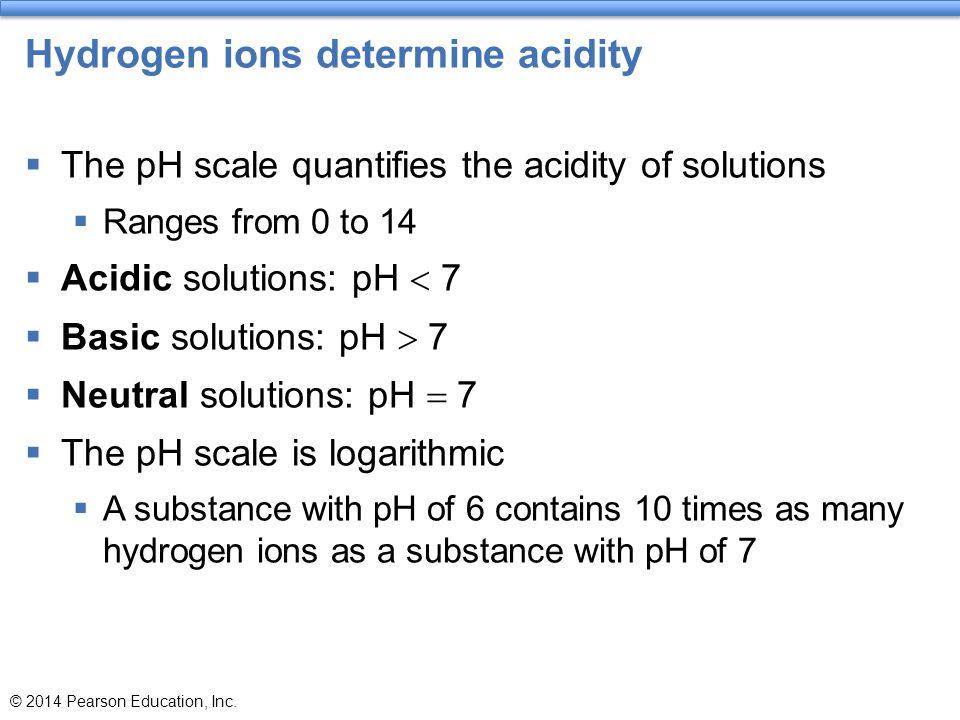 Hydrogen ions determine acidity