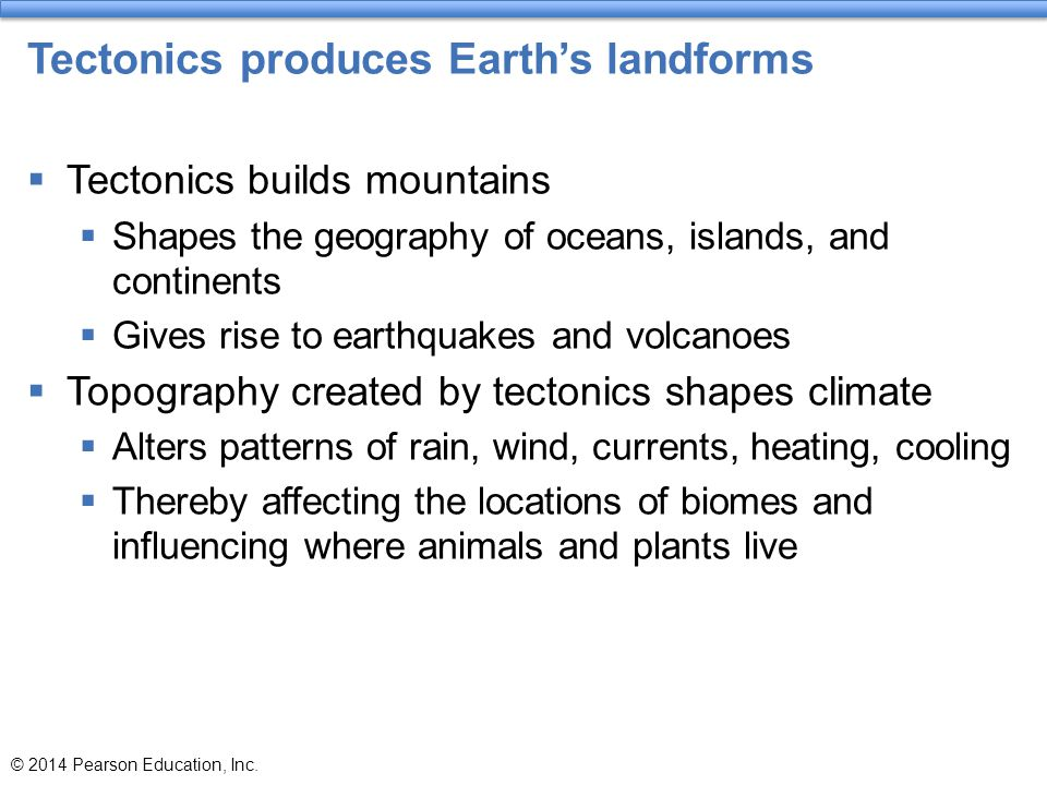 Tectonics produces Earth's landforms