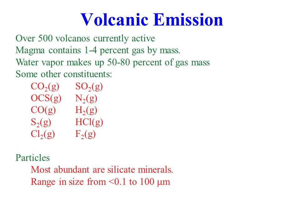 Volcanic Emission Over 500 volcanos currently active