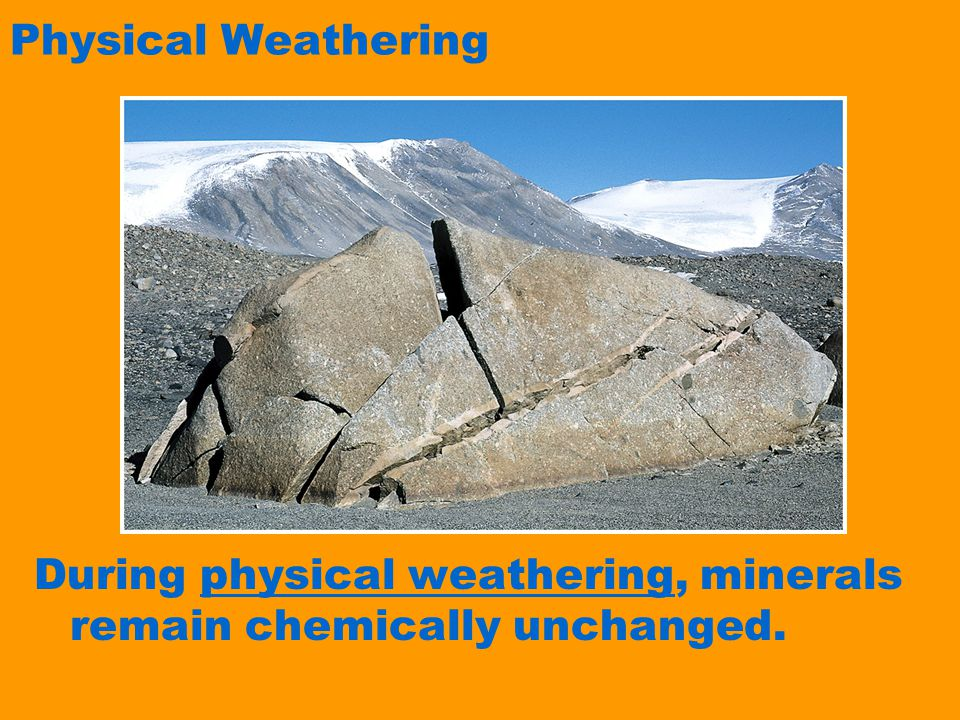 Physical Weathering During physical weathering, minerals remain chemically unchanged.