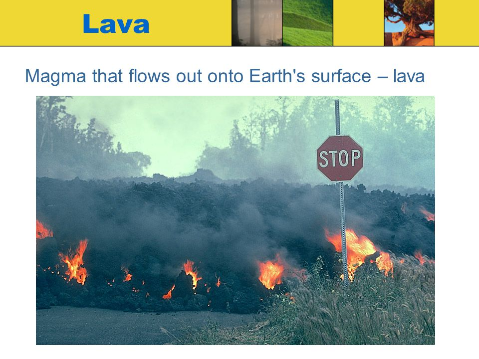 Magma that flows out onto Earth s surface – lava