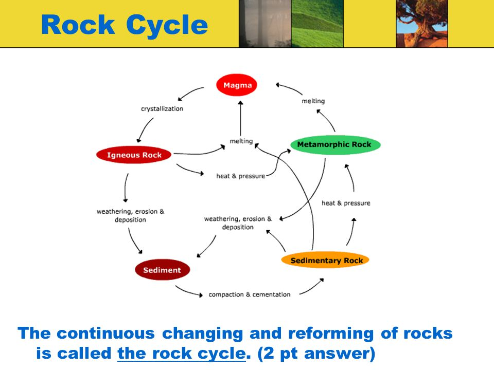 Rock Cycle The continuous changing and reforming of rocks is called the rock cycle. (2 pt answer)