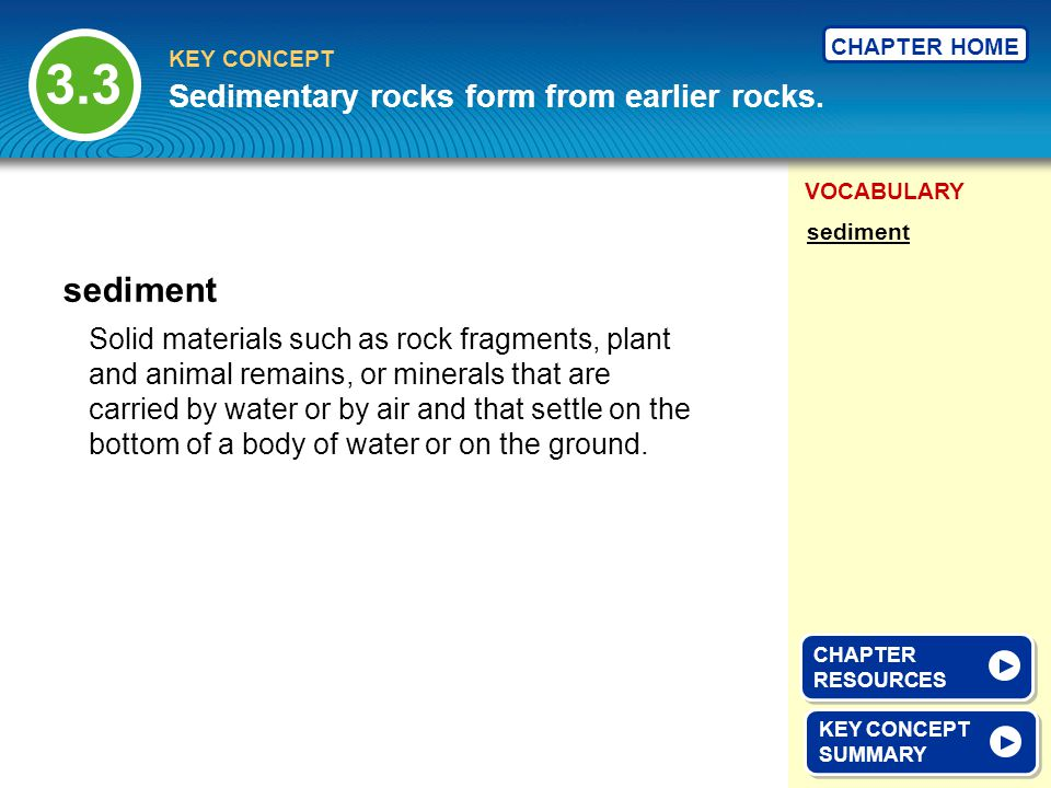 3.3 sediment Sedimentary rocks form from earlier rocks.