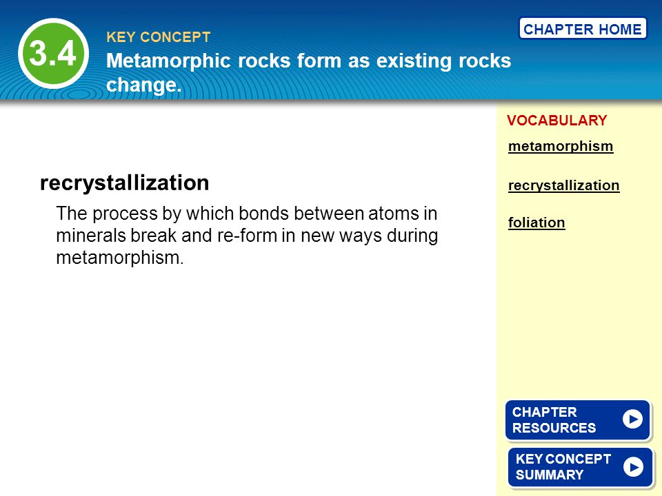 3.4 recrystallization Metamorphic rocks form as existing rocks change.