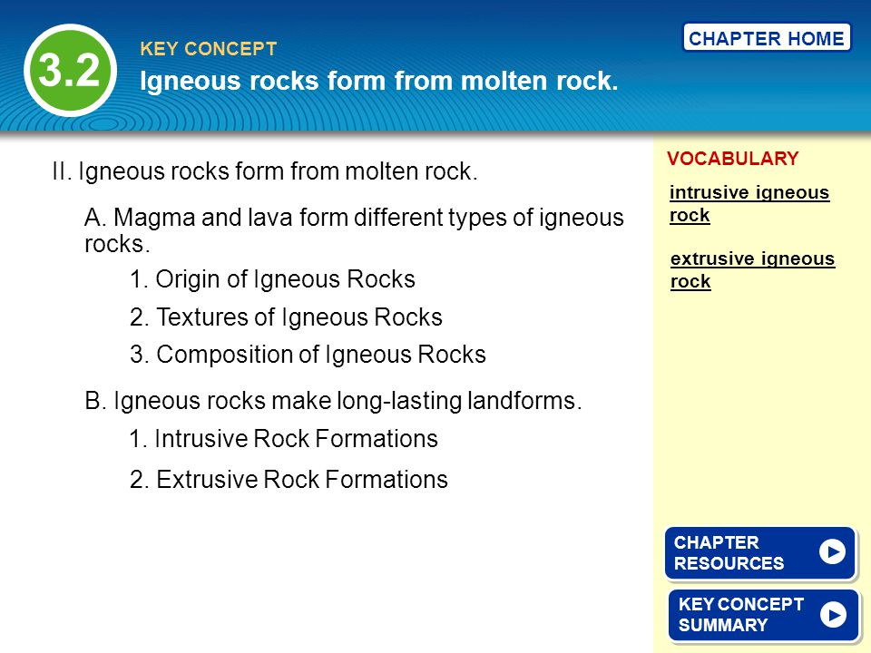 Igneous rocks form from molten rock.