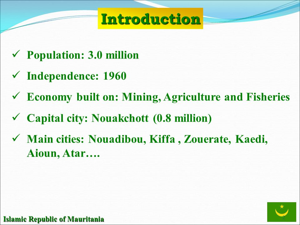 Introduction Population: 3.0 million Independence: 1960