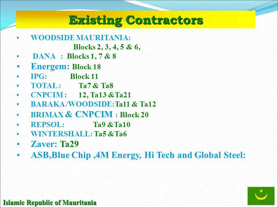 Existing Contractors Energem: Block 18 Zaver: Ta29