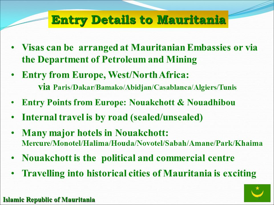 Entry Details to Mauritania