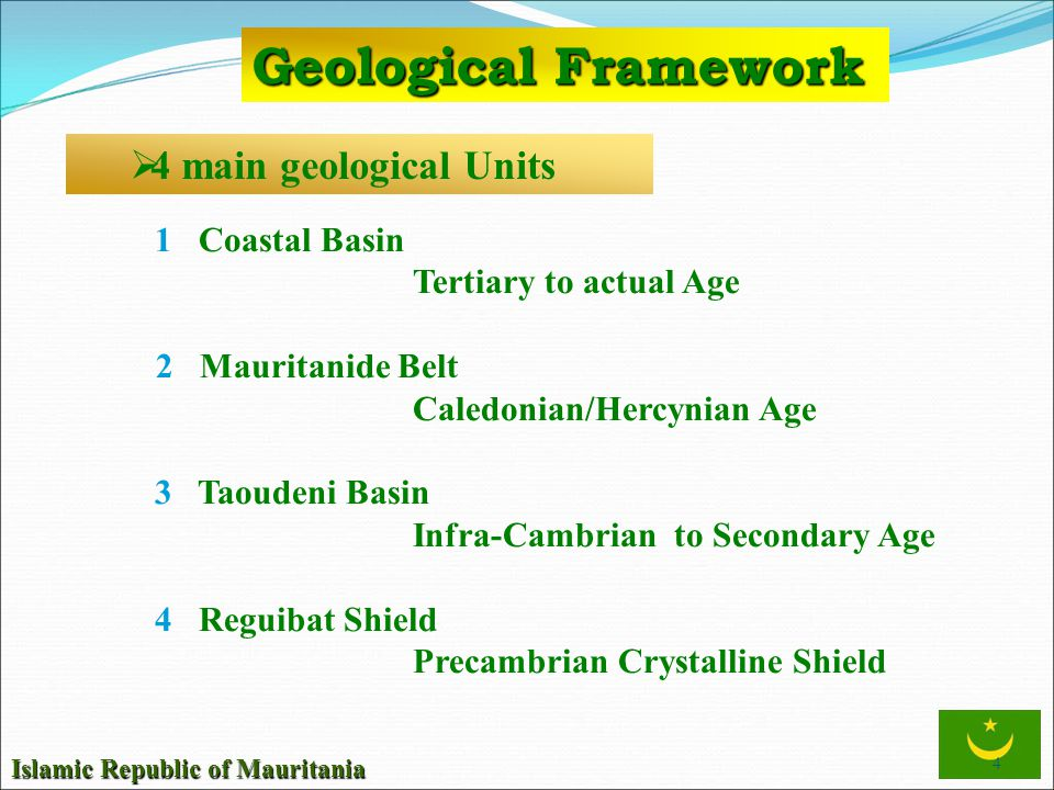 Geological Framework 4 main geological Units 1 Coastal Basin