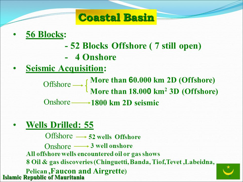 Coastal Basin 56 Blocks: - 52 Blocks Offshore ( 7 still open)