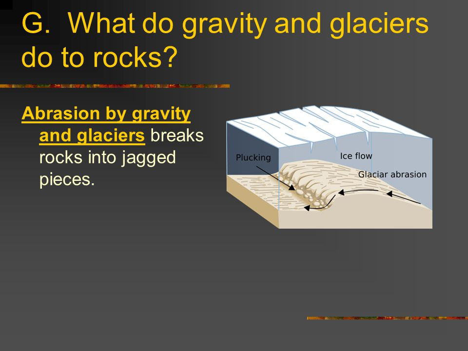 G. What do gravity and glaciers do to rocks