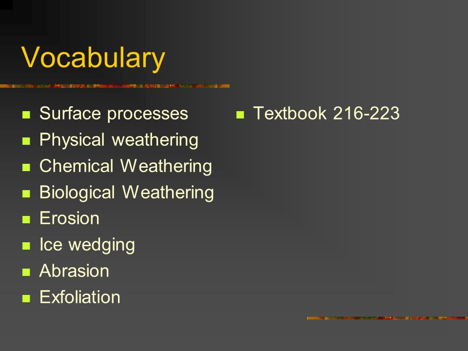 Vocabulary Surface processes Physical weathering Chemical Weathering