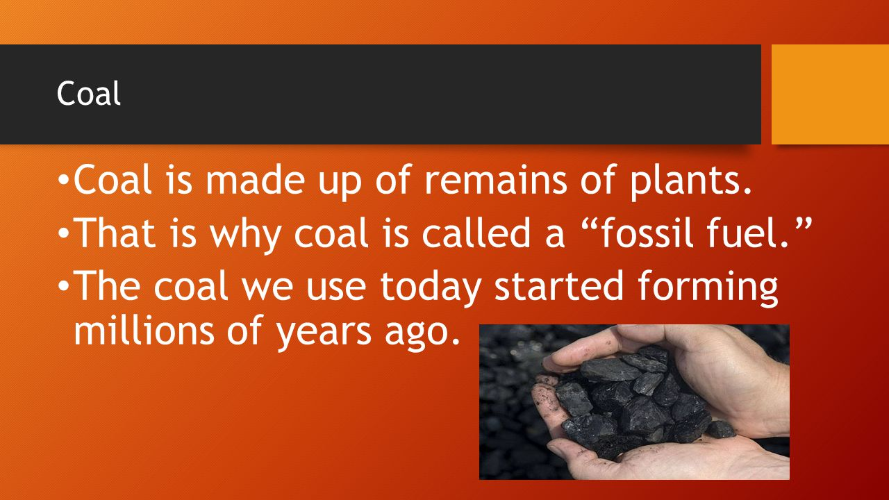 Coal is made up of remains of plants.