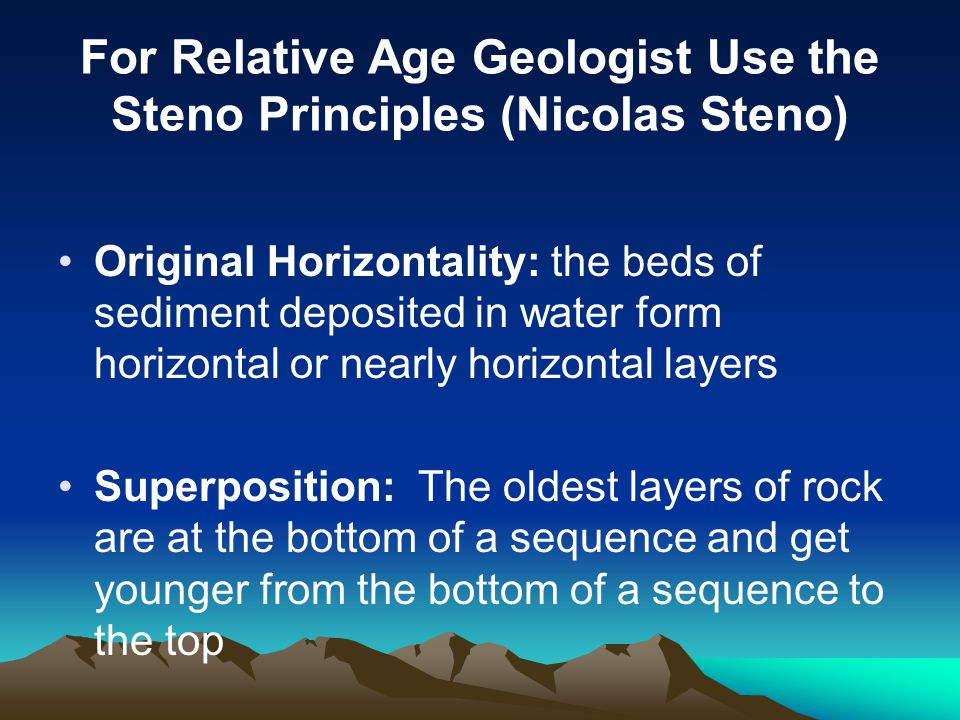 For Relative Age Geologist Use the Steno Principles (Nicolas Steno)