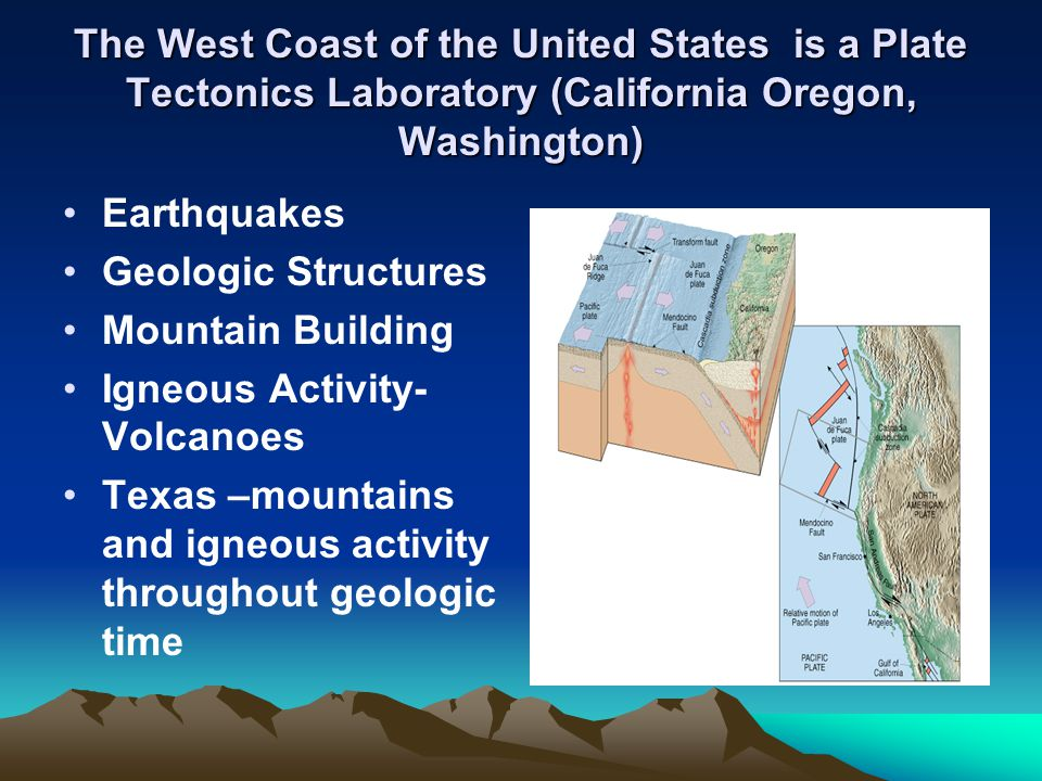 The West Coast of the United States is a Plate Tectonics Laboratory (California Oregon, Washington)